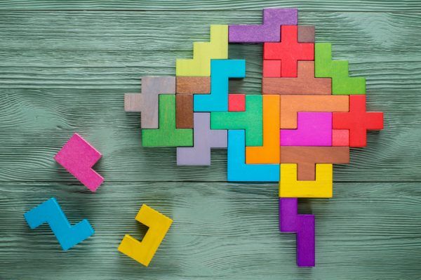 Human brain is made of multi-colored wooden blocks. Creative medical or business concept.