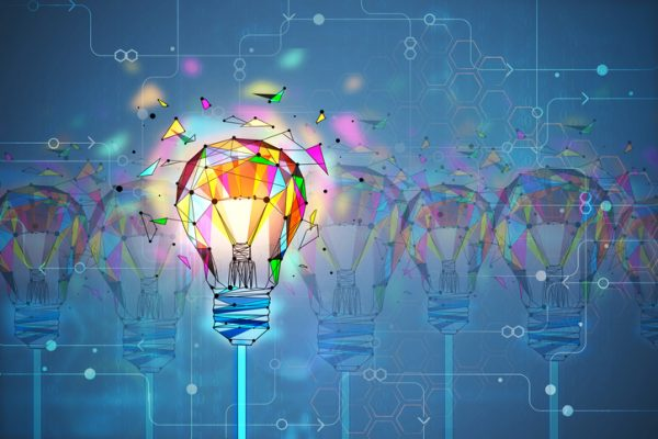 Abstract creative polygonal colorful light bulb background. Innovation and creativity concept. 3D Rendering