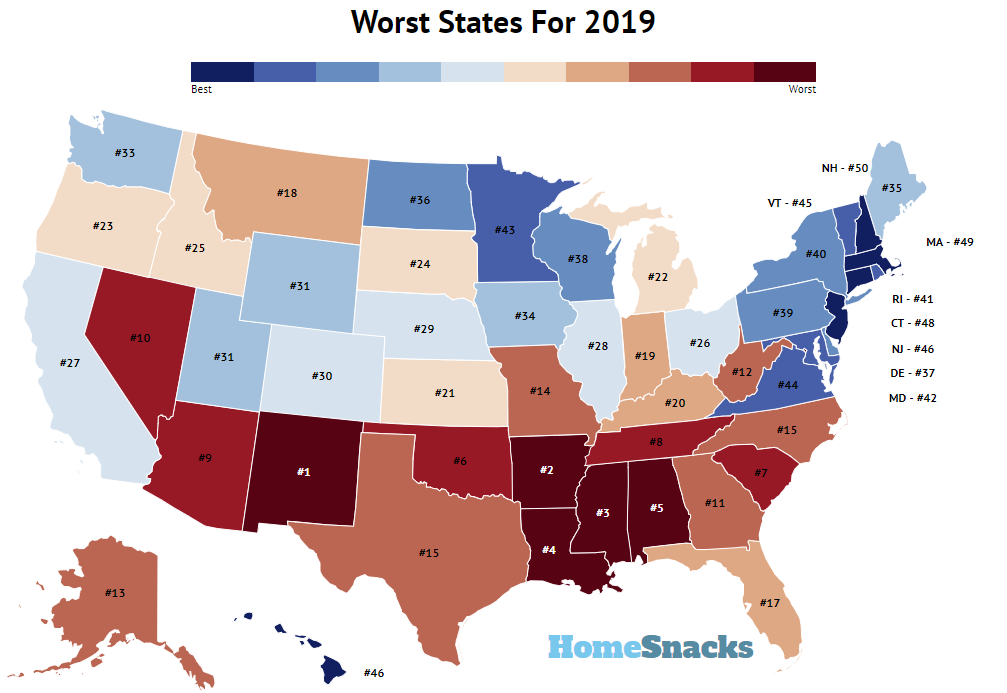 10 best, worst states for healthcare in 2020