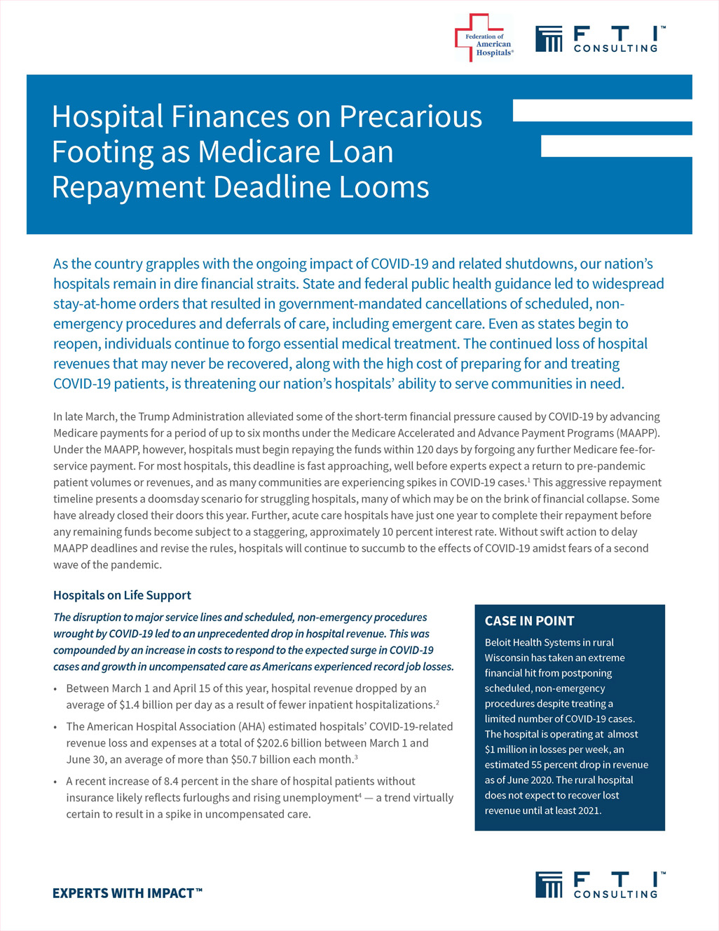 Medicare Accelerated and Advance Payments for COVID-19 Revenue Loss: Time to Repay?