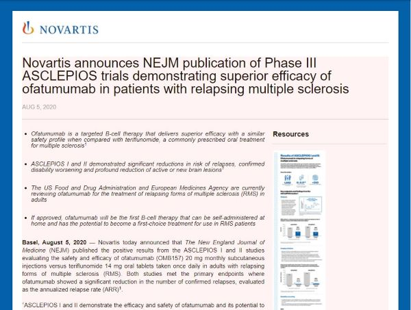 Novartis Reports Results of Ofatumumab (OMB157) in P-III ASCLEPIOS Trials for Relapsing Multiple Sclerosis