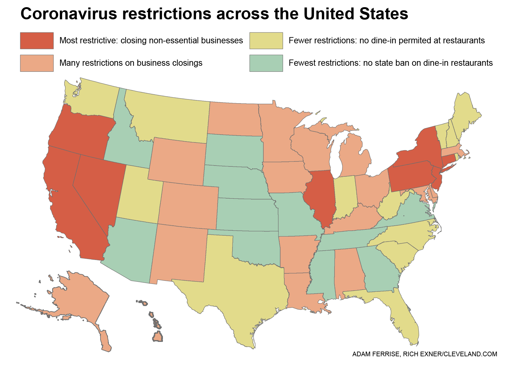 5 states with most, fewest COVID-19 restrictions