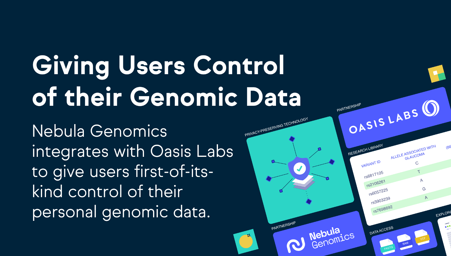 Nebula, Oasis Labs Integrate to Give Users Ownership of Their Personal Genomic Data