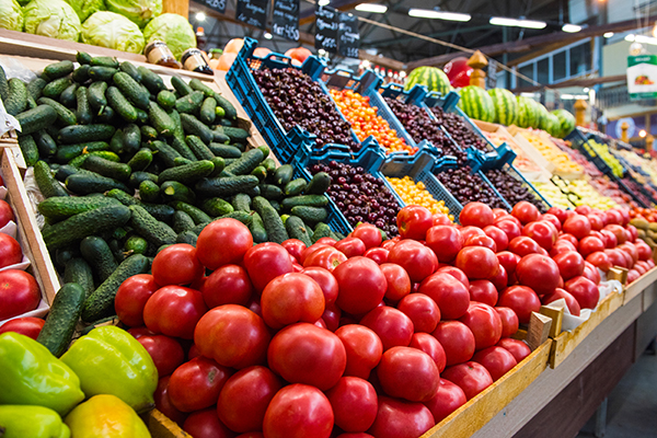 Produce section at grocery store