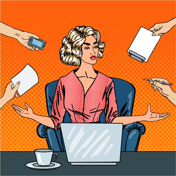 A woman sitting at her desk being handed a variety of tasks.